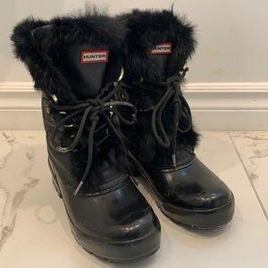 Hunter Black Faux Fur Boots Size EU 37/US 6